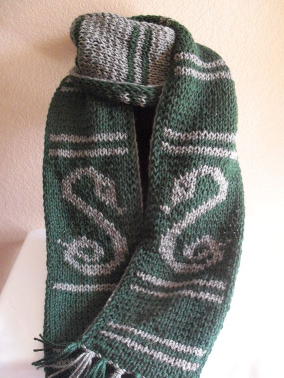 Harry Potter Scarf Knitting Pattern Slytherin : Harry Potter Slytherin Inspired House Scarf - Double Knit ...