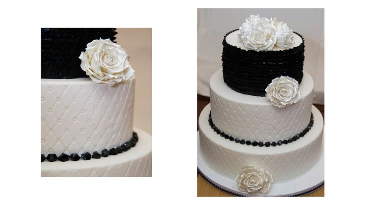 Tort de Mireasa Alb Negru ❤️ Black and White Wedding Cake