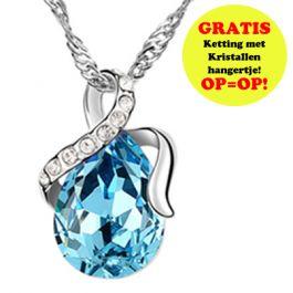 GRATIS Kristallen Druppel Ketting - Blauw (t.w.v. €24,95) - Ketting - Sieraden