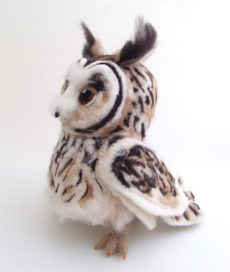 Needlefelted Long Eared Owl Life Sized Collectible Art Doll Owl.  From feltmeupdesigns via Etsy.
