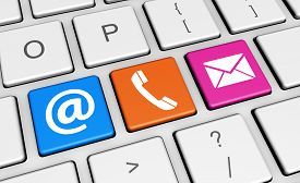 pic of symbols - Website contacts symbol and icon on colorful computer key conceptual 3d illustration for blog and online business - JPG