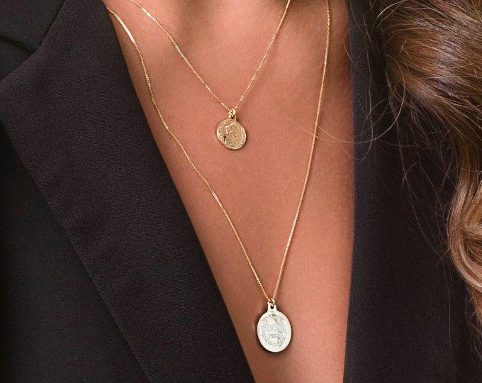 Collier de pièce de monnaie, pièce d'or collier, bijoux minimaliste, collier tous les jours, collier en or, tous les jours de bijoux or, collier en couches.