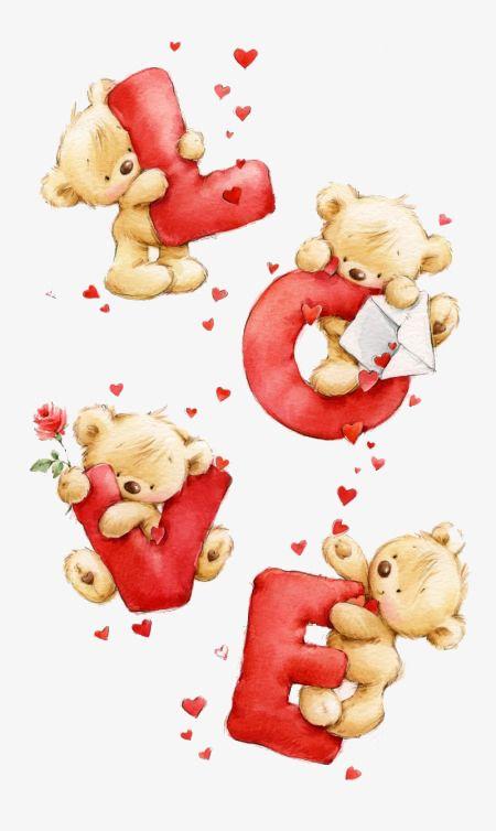 Cartoon cartas de amor, Rojo, Carta, Oso Imagen PNG