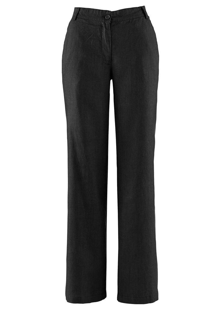 Calça de linho, «larga» preto encomendar agora na loja on-line bonprix.de  R$ 129,00 a partir de Em tecido de linho firme, com elásticos aplicados no cós e ...