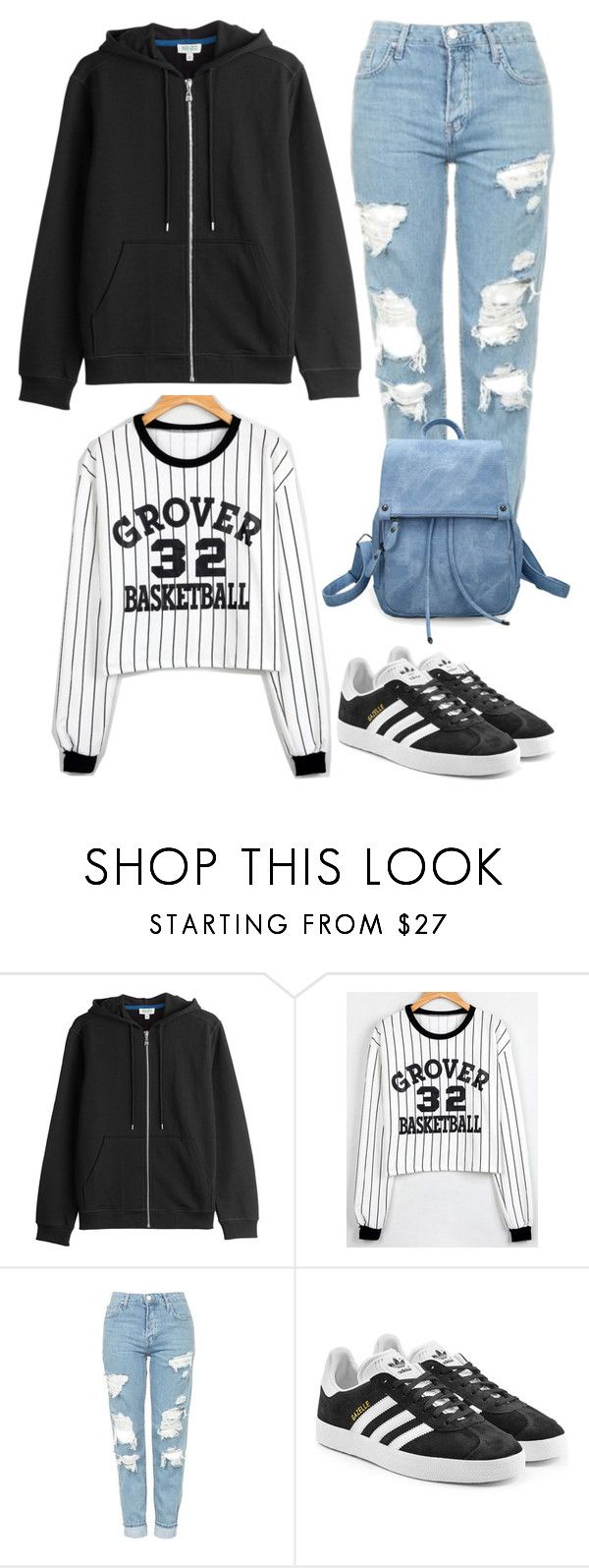 """""""Untitled #14049"""" by beatrizibelo ❤ liked on Polyvore featuring Kenzo, WithChic, Topshop and adidas Originals"""