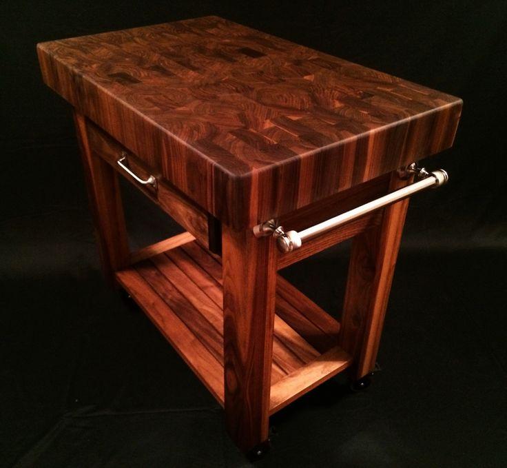Black walnut end grain butcher block cart  36x24x4 inch top