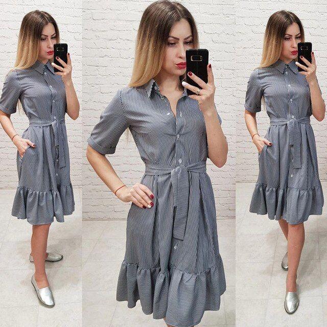 Mulheres do vintage listrado impresso faixas vestido de festa de manga curta colar de abertura de cama aline dress verão mulheres vestem   – Products