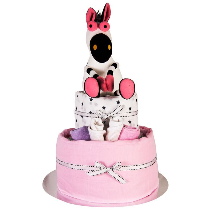 Sitting Critters Nappy Cake - 2 Tier - This 2 Tier Nappy Cake is made with a gorgeous Sitting Critters Toy 20cm (Yellow Cow, White Zebra, Blue Dog or Pink Horse), Bib, 2 Face Washers, 2 Muslin Wraps, 24 Huggies Nappies. Comes gift wrapped on a cake tray with cellophane & ribbon.