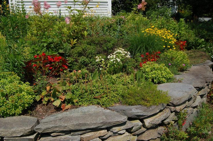 Small stone retaining walls are relatively easy for beginners to build. If you need some motivation to build one, think of the colorful terrace you'll be able to have afterwards, as shown in this picture. Get instructions here: http://landscaping.about.com/cs/lazylandscaping/ht/retaining_wall.htm
