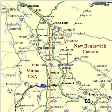 Here's a closer view. I 95 ends at Houlton, Maine.
