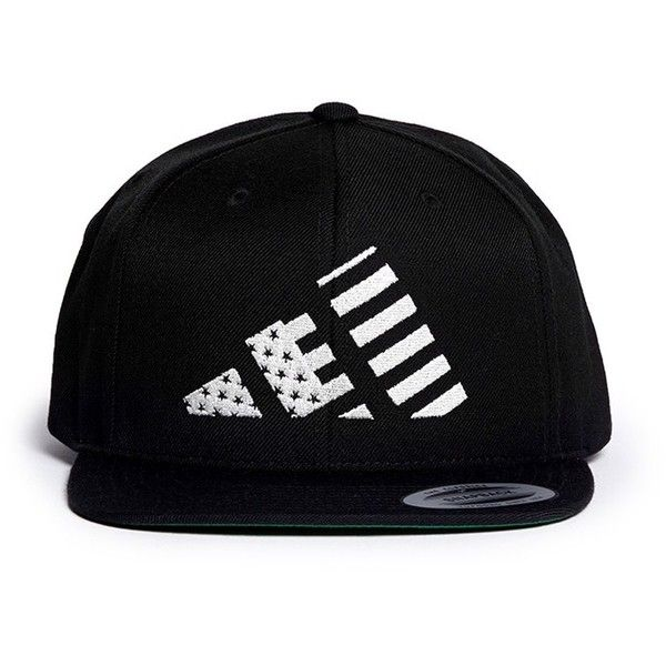 Lpd x adidas 'Mountain Flag' snapback cap ($45) ❤ liked on Polyvore featuring accessories, hats, caps, czapki, black, black american flag hat, beanie cap hat, black snapback, beanie hats and snapback cap