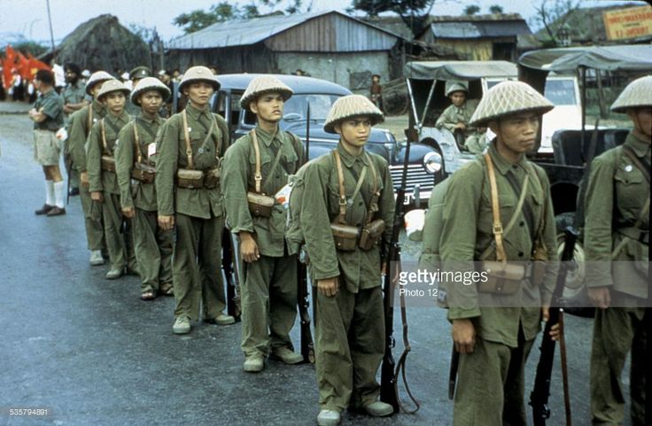 Haiphong. Communist troops waiting for the French troops to depart,, 1954-1955,, Vietnam - War in Indochina,, National Archives. Washington, .