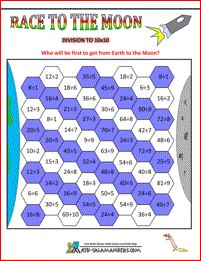 Division games - Race to the Moon. A division game to help you practice your division facts to 10x10