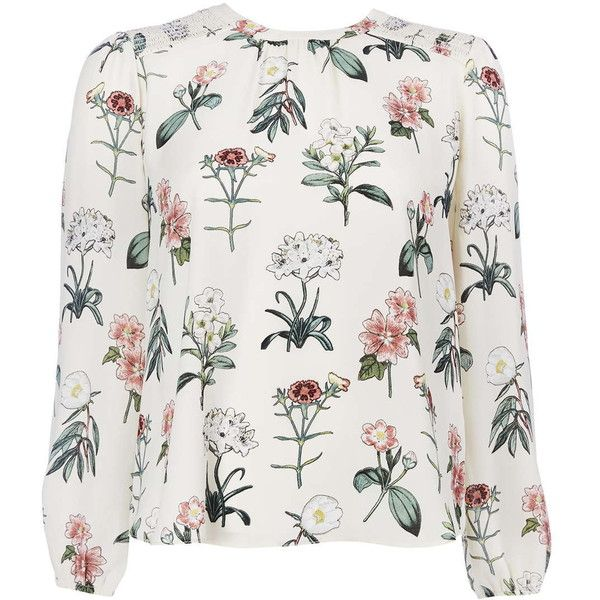 Petite Cream Floral Blouse ($70) ❤ liked on Polyvore featuring tops, blouses, floral print blouse, floral blouse, cream top, petite blouses and flower print top
