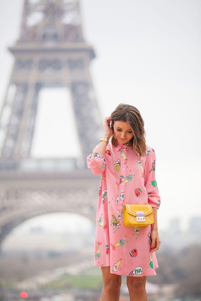 Pink Eiffel - Alexandra wearing Paul & Joe Dress, Furla Bag and Mango Shoes.