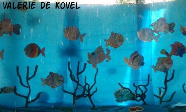 Een aquarium voor het raam. Doorzichtig tafelzeil ervoor. Vissen van papier gemaakt, gekleurd door de kinderen. Ophangen met visdraad. Planten van pijperagers.