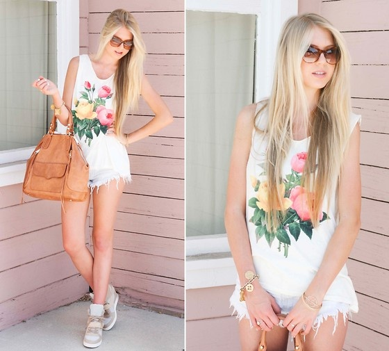 Wildfox Couture Top, Brandy Melville Shorts, Rebecca Minkoff Bag, Ash Shoes