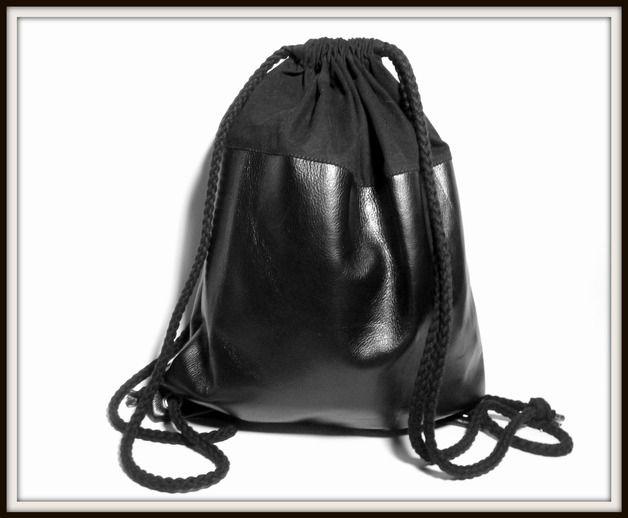 Turnbeutel - Lederrucksack, Turnbeutel schwarz 2 - ein Designerstück von icevogel bei DaWanda