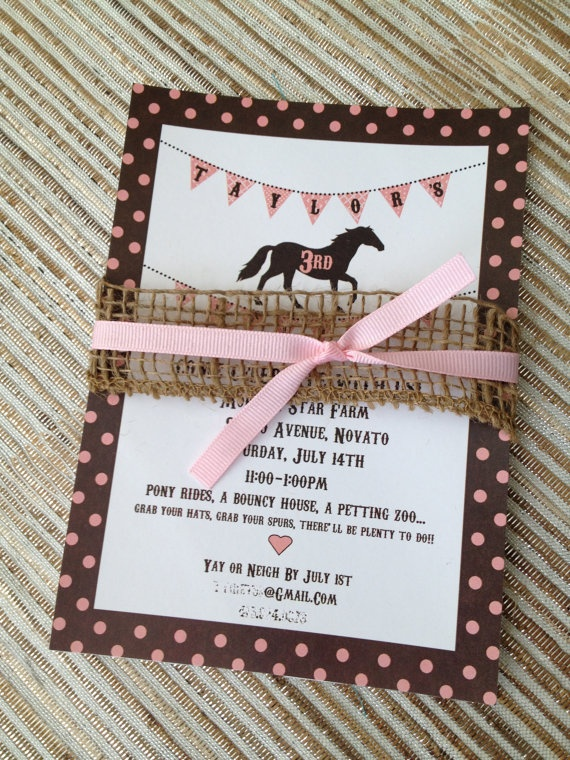 Printable Pony Horse Birthday Party Invitation Vintage Style Shabby Chic