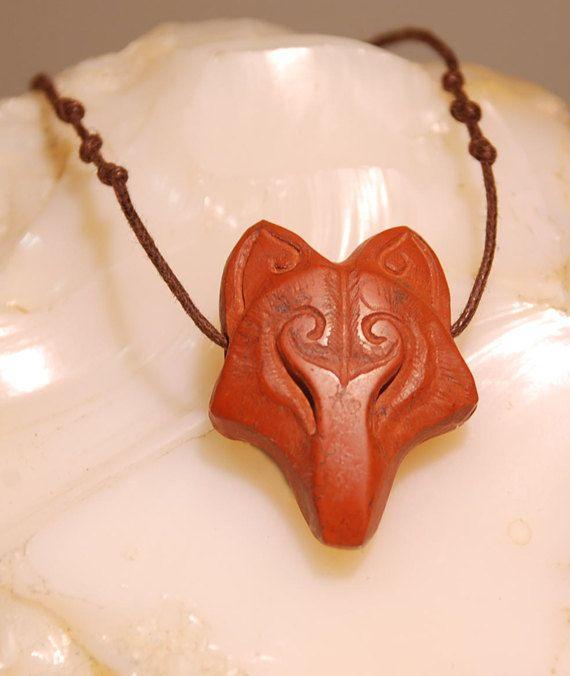fox Necklace jasper stone by shamanstones on Etsy