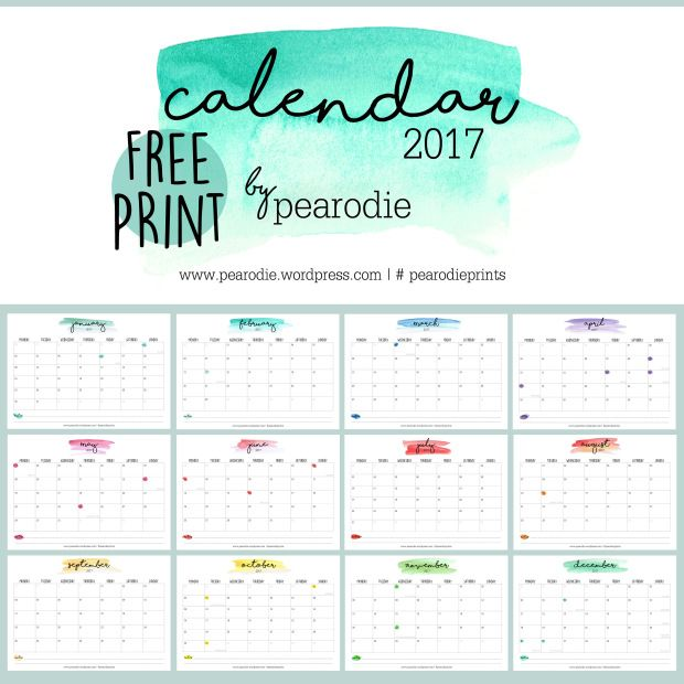 294 Best Images About FREE Printable 2017 + 2016 Calendars
