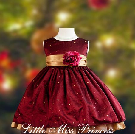 Polka Dot Burgundy Baby Christmas Dress