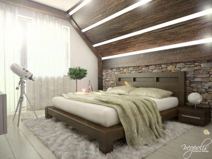 Manželská posteľ v spálni - Interiér domu s použitím prírodných materiálov