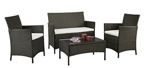 Patio Furniture Set Clearance Rattan Wicker Dining Table Chair Indoor Outdoor Furniture Set Balcony Sofa Bench (Black)