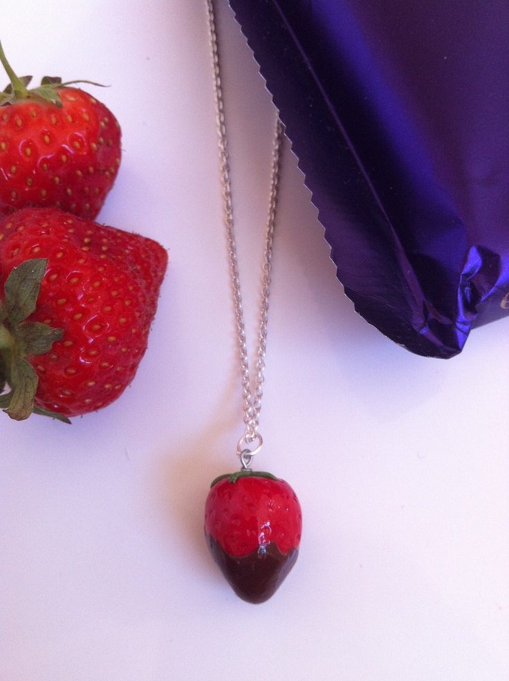 Strawberry Dipped In Chocolate Necklace