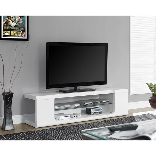 White Tempered Glass 2-drawer 60-inch TV Console - Overstock Shopping - Great Deals on Entertainment Centers