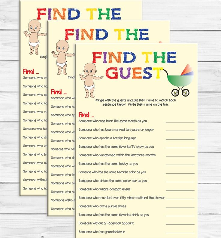 Find The Guest Is A Great Ice Breaker Baby Shower Game.