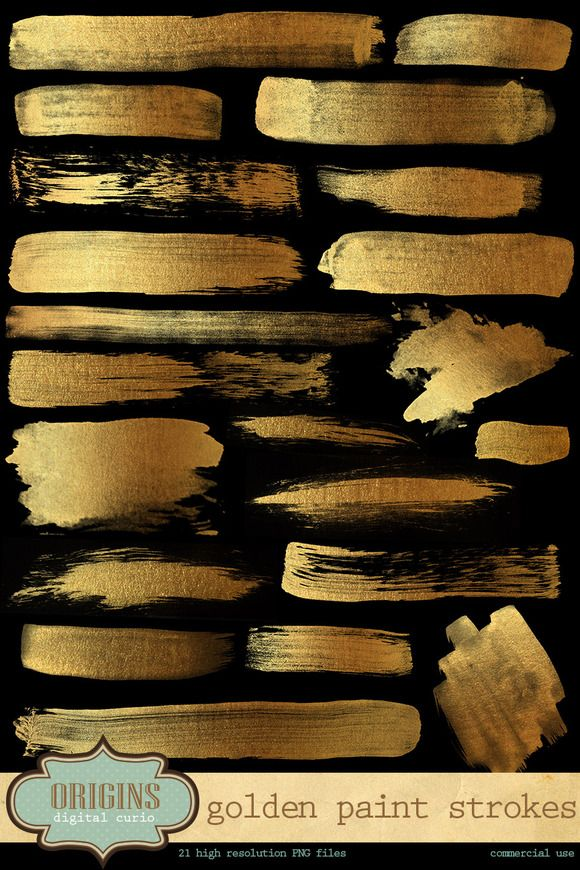 Golden Paint Strokes by Origins Digital Curio. PNG files.