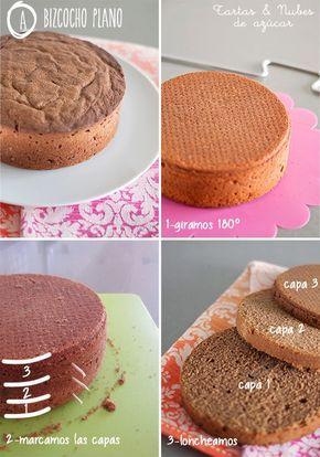 Como cortar, nivelar y rellenar un bizcocho para hacer una tarta decorada con fondant
