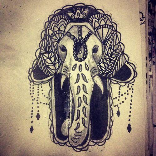 Hamsa tattoo with elephant cool stuff pinterest for Hamsa elephant tattoo
