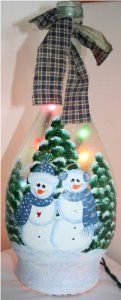 Examples Of Painted Wine Bottles | to wine bottles snowman couple with country blue accents on glass wine ...