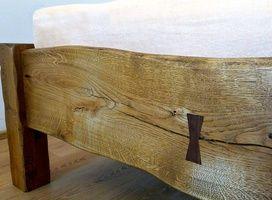 Manželská dubová postel z fošen