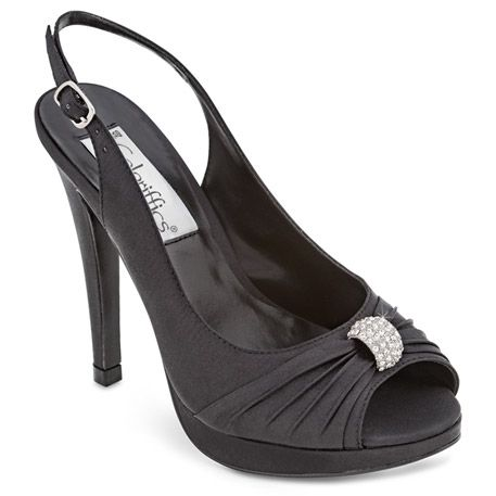"Satin sling-back platform sandal with pleated sash gathered with a rhinestone ornament. Satin upper and leather sole. Heel: 4 1/4"" with 1"" Platform."