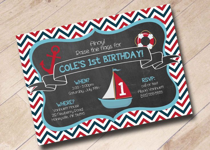 Nautical Sailor Anchor Sailboat Themed Invitation Chevron First Birthday by areUin on Etsy https://www.etsy.com/listing/195004391/nautical-sailor-anchor-sailboat-themed