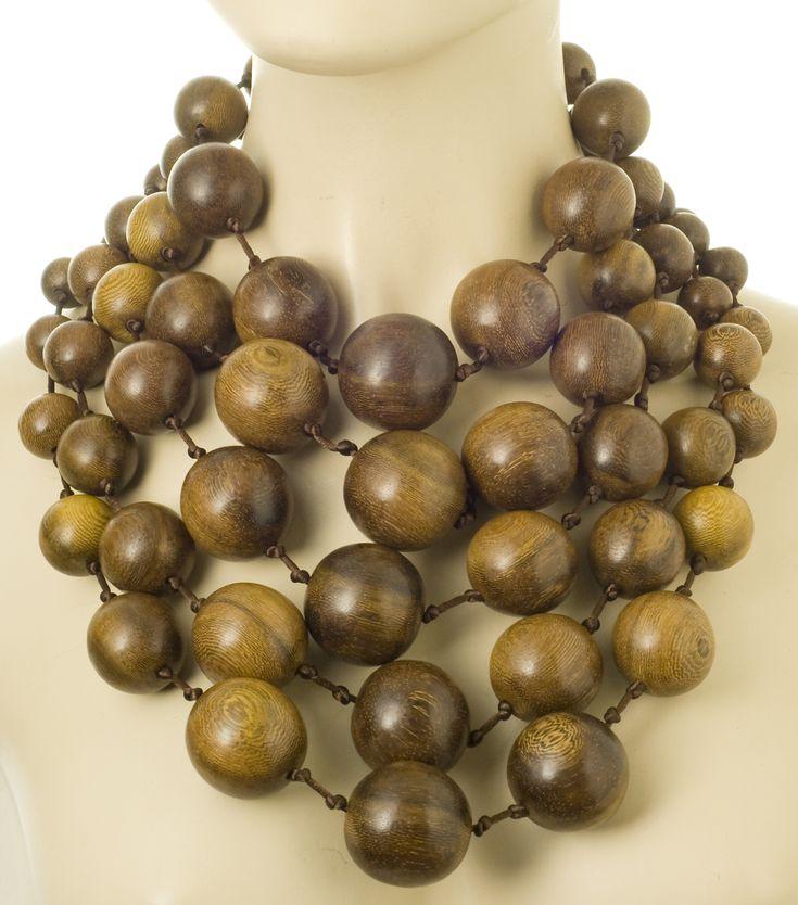 Iris Apfel designed wood bead necklace