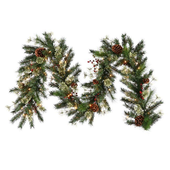 Nisswa Pine Cone Berry Pine Artificial Christmas Garland with Lights