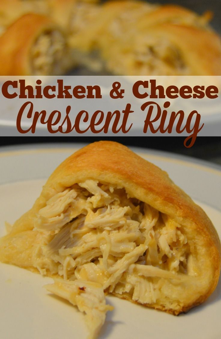 An easy and delicious appetizer or main dish, everyone will love this chicken and cheese crescent ring!