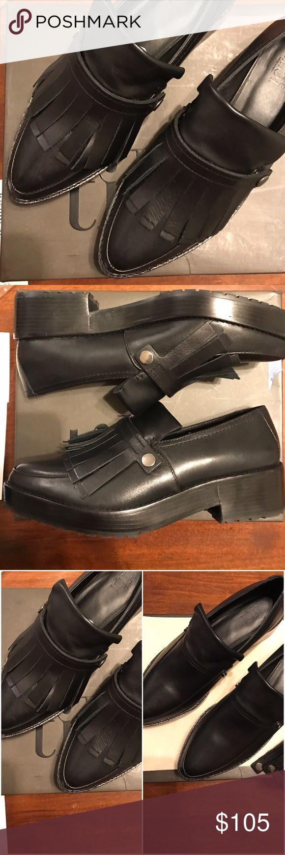 "Black tibi Chunky Loafers w. Removable Patches These tibi Chunky Loafers are awesome! They go with everything & you can still wear flats while gaining a little height. Only worn a couple of times. Heel: approx 1.75""-in. Platform: 1""-in. In box. Tibi Shoes Flats & Loafers"