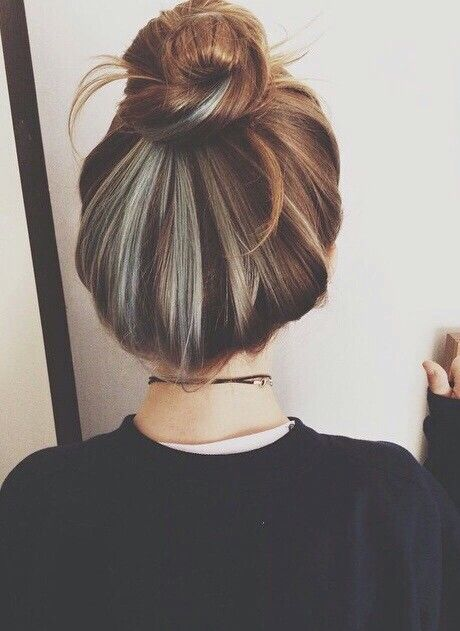 Silver grey brown black hair, hair colors, multiple hair colors, hair in a bun