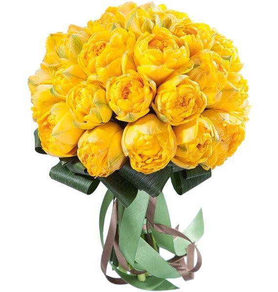 Тюльпаны махровые желтые пионовидные королевские большие букет 51 шт.