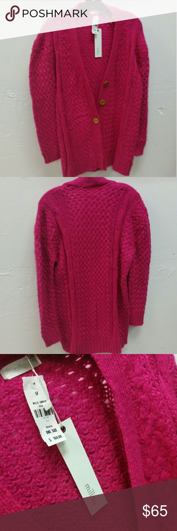 LF hot pink cardigan sweater one size LF hot pink cardigan, tried to get some good pics of this beauty sweater the color is beautiful LF Sweaters Cardigans