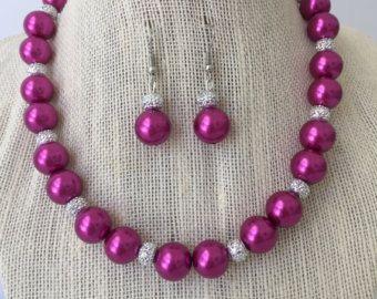 Joyería de Dama de honor de color rosa, rosa perla collar, conjunto de joyería nupcial rosa, rosa primavera boda, regalos para damas de honor, collar nupcial