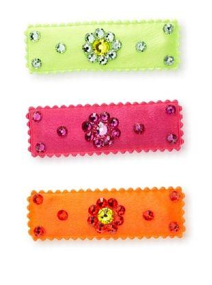 40% OFF Curls & Pearls Girl's 3-Pack Flower Barrette Set, Orange/Lime Green/Magenta
