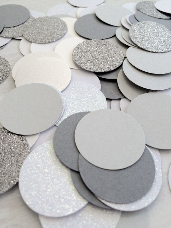 Grey and White Confetti  Large Circle by paperconfettidotcom