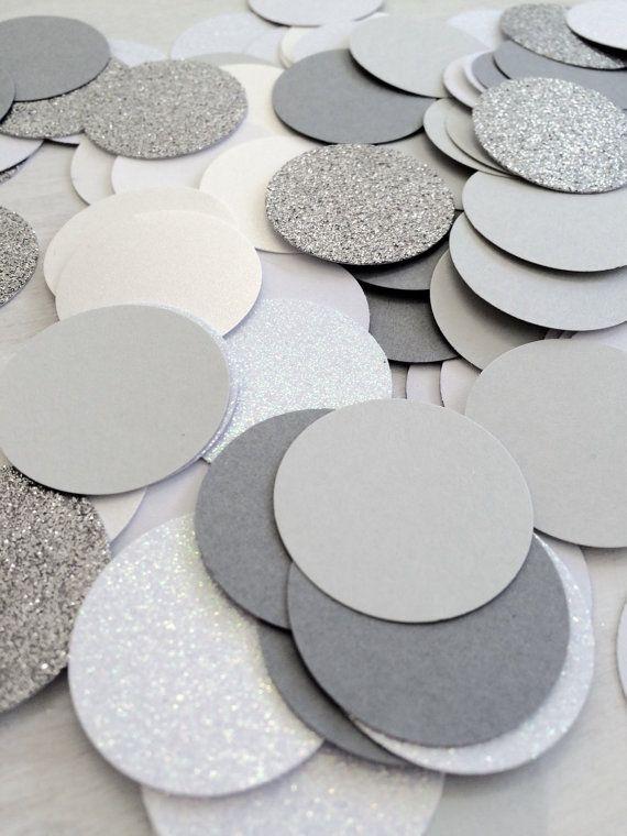 Grey and White Confetti  Large Circle by paperconfettidotcom