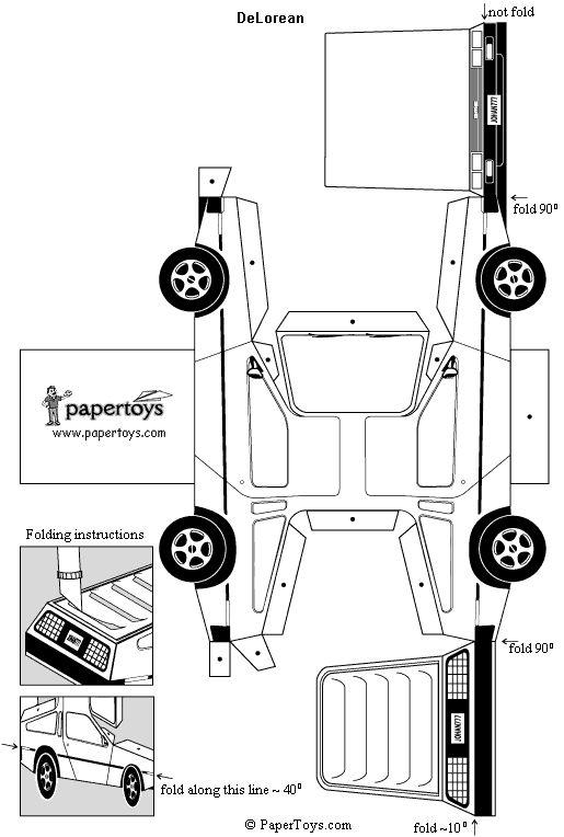 DeLorean - Paper Cutouts by PaperToys.com - via http://bit.ly/epinner